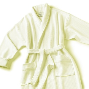 Knit Waffle Shawl Collar Robe with Piping - Blend Ecru (SKW1152C-P)