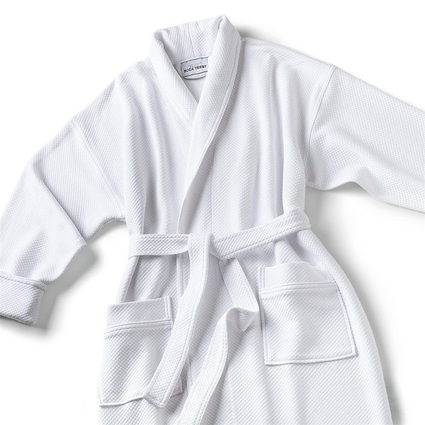 Knit Waffle Shawl Collar Robe with Piping - Blend White (SKW1152C-P)