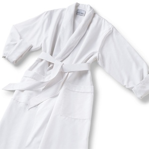 Microfiber Shawl Collar Robe - White White Cotton-Poly Lining (MS1152C-P)