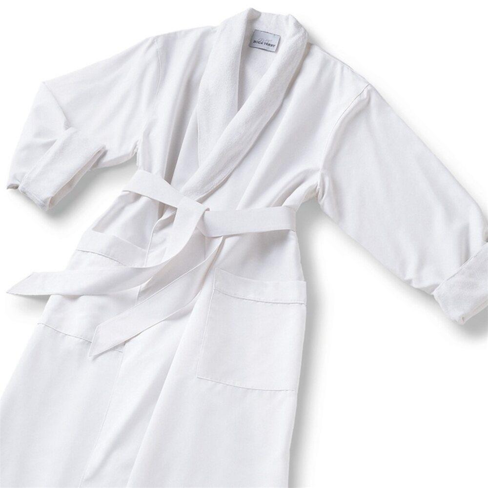 aa224d04d3 Microfiber Shawl Collar Robe - White White Cotton-Poly Lining (MS1152C-P)