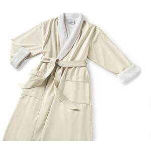 Microfiber Shawl Collar Robe - Ecru Off-White Cotton-Poly Lining (MS1152C-PE)