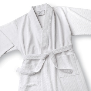 Microtec Kimono Robe - Mini Check - 85% Poly 15% Nylon White (MK3148C)