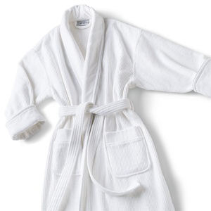 Mini Stripe Shawl Collar Robe - 14 oz. White (SMS1252C)