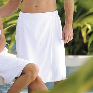 Spa Wrap - Velour - Men's with Snaps - 100% Cotton White (WR2024C)