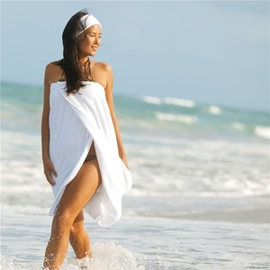 Spa Wrap - Velour - Woman's with Snaps - 100% Cotton White (WR2032C)