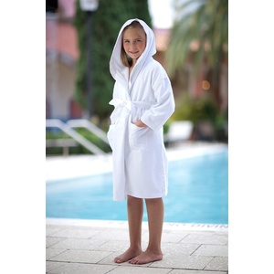 Kid's Hooded Terry Robe - 100% Cotton - 12 oz. White - Ages 8-10 Years (HL1031C)