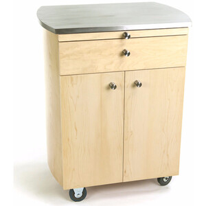 Timbale Rolling Cart with Stainless Steel Top + Choice of Wood Veneer: Maple Cherry or Wenge ()