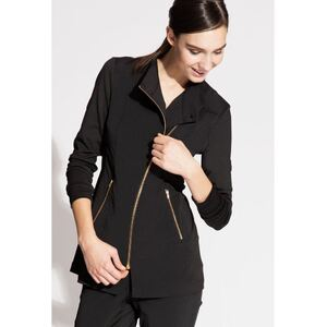 The Jada Woman's Top - Black, White or Charcoal with Gold Zipper (NA115)
