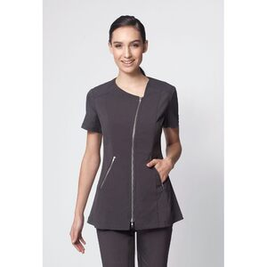 The Zoe Asymetrical Woman's Tunic Top - Black Charcoal or White (NA330)