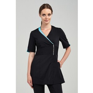 The Sofia Woman's Tunic - Black with Aqua Trim  (NA225)