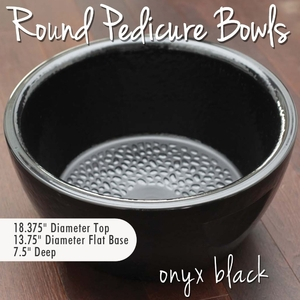 Round Pedicure Bowl Onyx Black Durable Resin Material - The New Signature Collection by Noel Asmar (PB1011ON)