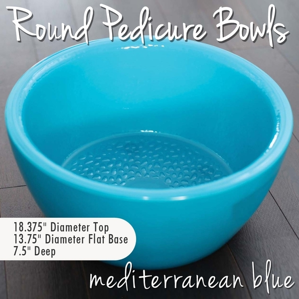 Round Pedicure Bowl Mediterranean Blue Durable Resin Material - The New Signature Collection by Noel Asmar (PB1011MB)