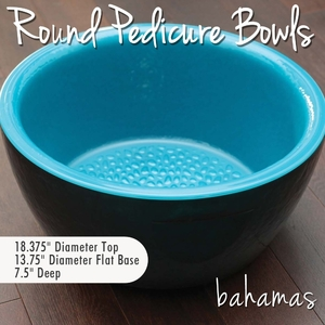 Round Pedicure Bowl Bahamas - Two Tone: Espresso Brown Exterior + Mediterranean Blue Interior Durable Resin Material - The New Signature Collection by Noel Asmar (PB1011BA)
