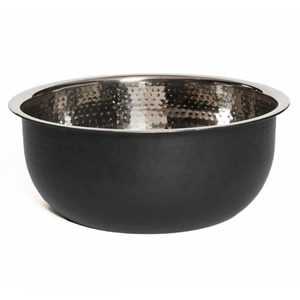 Pedicure Bowl - Hand Hammered Stainless Steel with Black Powder Coated Exterior (Steel with Black)