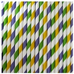 Paper Drinking Straws - Mardi Gras (Purple, Dark Green & Bright Yellow) - Qty of 30