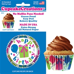 Bakery Quality Cupcake Baking Cups - Happy Birthday (32 pieces)
