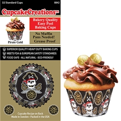 Bakery Quality Cupcake Baking Cups - Pirate Gold (32 pieces)