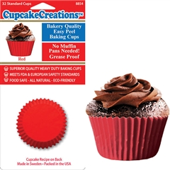 Bakery Quality Cupcake Baking Cups - Red (32 pieces)