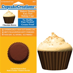 Bakery Quality Cupcake Baking Cups -  Chocolate Brown (32 pieces)