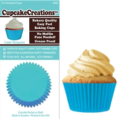 Bakery Quality Cupcake Baking Cups - Light Turquoise (32 pieces)