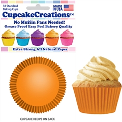 Bakery Quality Cupcake Baking Cups - Orange (32 pieces)