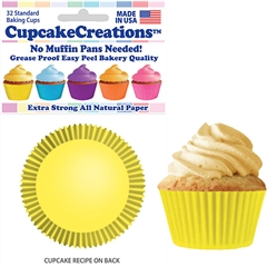 Bakery Quality Cupcake Baking Cups - Yellow (32 pieces)