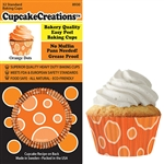 Bakery Quality Cupcake Baking Cups - Orange Dots (32 pieces)