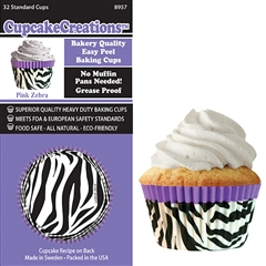 Bakery Quality Cupcake Baking Cups - Purple Zebra (32 pieces)