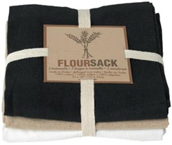 Lint-free Floursack Drying Towels - Black/Oyster/White