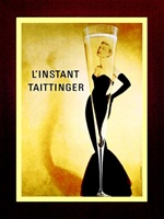 """L'instant Taittinger"" Champagne, with Grace Kelly [Vertical] 40"" x 60"" Framed with Craftman ""California Mission"" Espresso Color Solid Wood Frame"