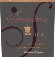 "Snowden ""Brothers Vineyard"" Cabernet Sauvignon 2016 (Napa Valley, California) - [AG 96+] [WS 94, #91 Top 100 of 2019] [JS 92]"