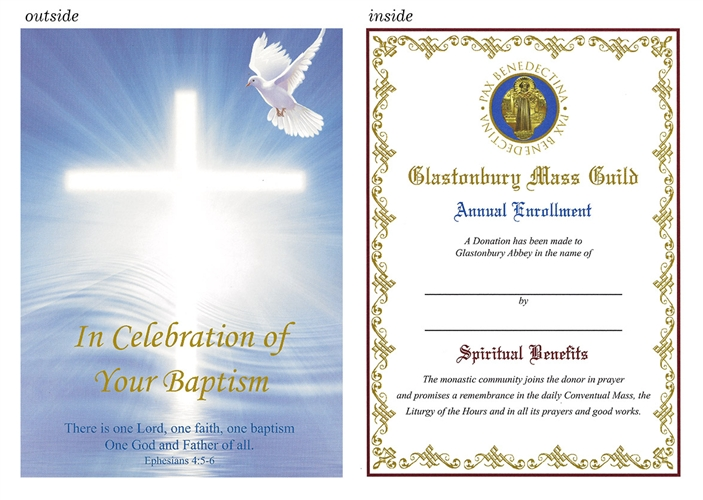 greeting card for catholic baptism with dove and cross