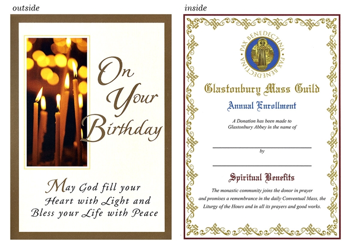catholic birthday card with candles and prayer