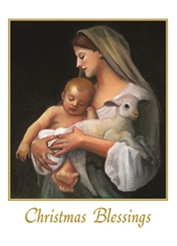 catholic christmas card with image of madonna baby jesus and lamb