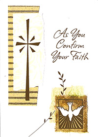 catholic confirmation card with dove and cross