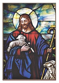 catholic prayer card with image of jesus the shepherd in stained glass style