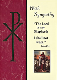 catholic sympathy card the lord is my shepherd I shall not want