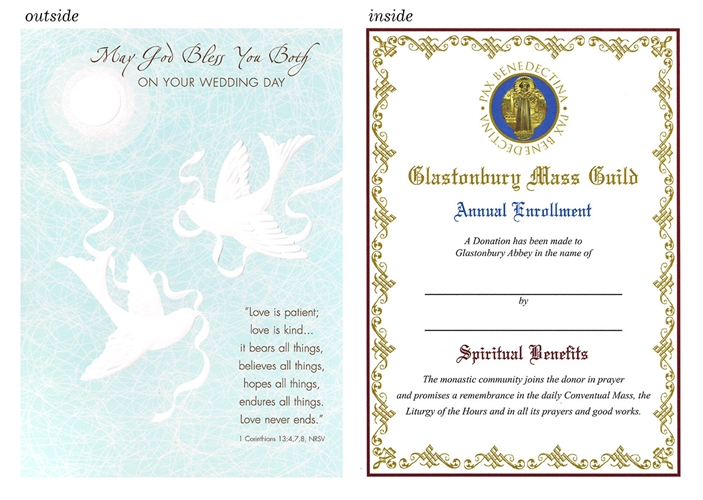 catholic wedding card 1 corinthians 13:4 white doves with ribbon on turquoise background