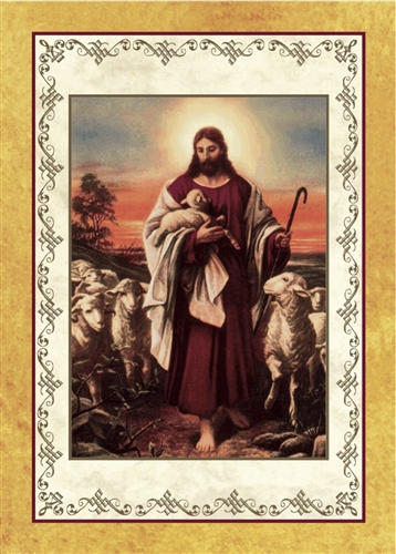 jesus the shepherd painting five year prayer enrollment card
