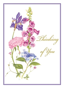 catholic thinking of you card with pink and purple flowers on white background