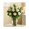One Dozen White Roses Vased