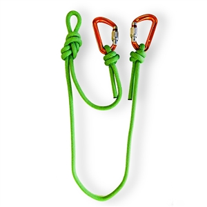 9.7mm Dynamic Rope Cowtail & Very Rare Orange Petzl Spirit Screwlock Carabiners