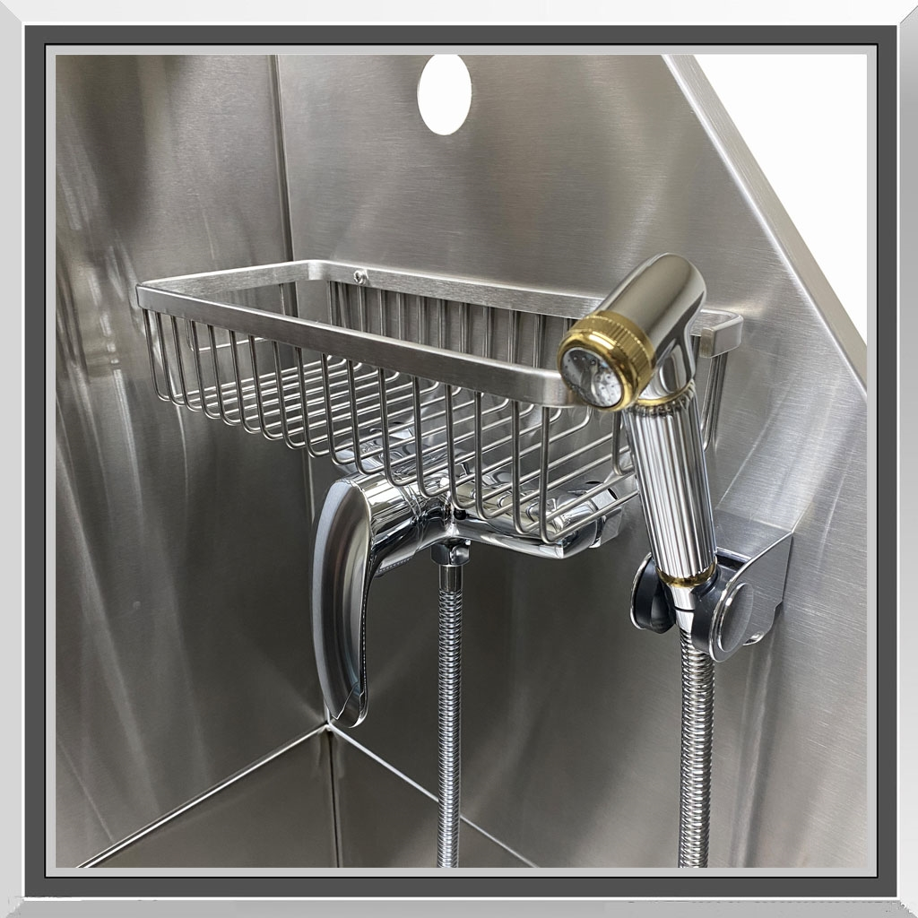 Professional Tub Kit Faucet, Sprayer, Shampoo Rack