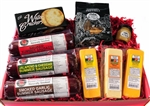 Gourmet Smoked Sausage, WI Cheese, Cracker, Pretzel and Mustard Gift Box