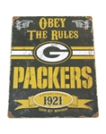 "Embossed Metal Green Bay Packers Metal ""Obey the Rules"" Sign 17""H"