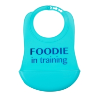 100% Silicone Bib with crumb catcher. No bpa, phthalates, or lead. Rolls up easily for travel.