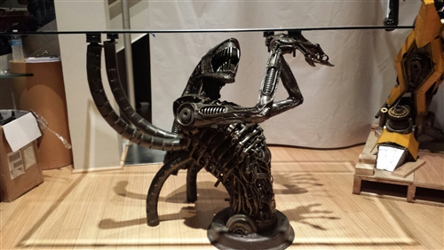 Alien Table Hand Made From Recycled Scrap Metal Scrap