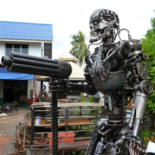 Terminator Sculpture, Hand Made From Recycled Scrap Metal