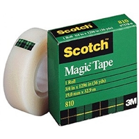 "3M 810 Magic Tape <BR> 3/4"" x 36 Yd Roll <BR> 1"" Core"