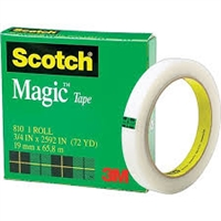 "3M 810 Magic Tape <BR> 3/4"" x 72 Yd Roll <BR> 3"" Core"